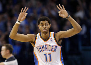 Oklahoma City's Jeremy Lamb (11) celebrates a three-point basket during the NBA game between the Oklahoma City Thunder and the Indiana Pacers at the Chesapeake Energy Arena, Sunday, Dec. 8, 2013. Photo by Sarah Phipps, The Oklahoman