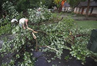 Glenn Hoffman tries to clear Symmes Street of trees that fell across the road as a result of a severe storm on Tuesday, June 14, 2011, in Norman, Okla. Photo by Steve Sisney, The Oklahoman ORG XMIT: KOD
