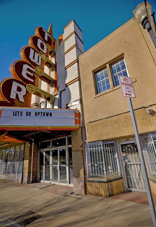 Marty Dillon, owner of the Tower Theatre, opposes plans to open a live music venue to the east of the theater, noting it won't have any parking. CHRIS LANDSBERGER