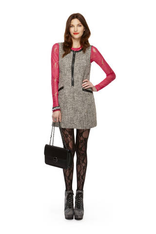 Long-sleeve lace tee in pink, tweed zip-front shift dress, lace tights, classic convertible handbag, all from Kirna Zabete for Target collection. Photo provided.