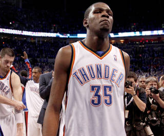 Kevin Durant walks off the court after the loss to the Lakers in April. Photo by Bryan Terry, The Oklahoman