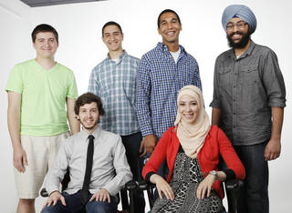 From left standing: Matt Patrick, Samer Abdelkander, Evan Traylor and Simar Singh; seated are Andrew Stodgkill and Layan Salous, are part of a group discussion on inter faith youth at OPUBCO studio, Tuesday, August 13, 2013. Photo by Doug Hoke, The Oklahoman