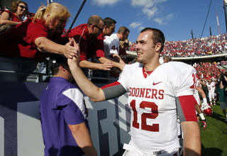 Quarterback Landry Jones greets fans after the college football game where the University of Oklahoma Sooners (OU) defeated the Texas Christian University Horned Frogs (TCU) 24-17 at Amon G. Carter Stadium in Fort Worth, Texas, on Saturday, Dec. 1, 2012. Photo by Steve Sisney, The Oklahoman