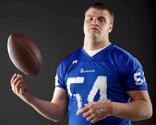 All-State football player Blake Belcher, of Guthrie, poses for a photo in Oklahoma CIty, Wednesday, Dec. 14, 2011. Photo by Bryan Terry, The Oklahoman