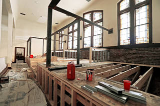 Raised floors were added in the balconies of Calvary Baptist Church to allow for conversion into office space for the Dan Davis Law Firm. Photos by Bryan Terry, The Oklahoman