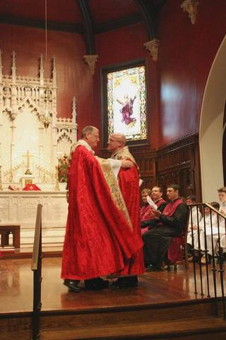 The Rt. Rev. Edward Konieczny, bishop of the Episcopal Diocese of Oklahoma, is shown with the Rev. Justin Lindstrom at the Jan. 26 installation service for Lindstrom, new dean of St. Paul's Episcopal Cathedral, 127 NW 7. Photo provided