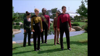 Star Trek: The Next Generation with Denise Crosby (Lieutenant Tasha Yar), Jonathan Frakes (Commander William T. Riker) and Michael Dorn (Lieutenant Worf) Photo Credit: CBS Home Entertainment