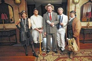 Chautauqua actors are (left to right) Debra Conner as Zelda Fitzgerald, Gene Worthington as Babe Ruth, Doug Watson as Will Rogers, Doug Mishler at Henry Ford and Ilene Evants as Bessie Coleman.