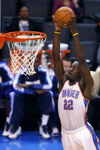 Oklahoma City's Jeff Green goes in for the dunk during the Thunder - Mavericks game Monday, December 27, 2010 at the Oklahoma City Arena. Photo by Hugh Scott, The Oklahoman