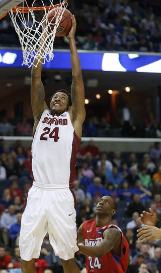 Stanford forward Josh Huestis (24) dunks on Dayton guard Jordan Sibert (24) during the first half in a regional semifinal game at the NCAA college basketball tournament, Thursday, March 27, 2014, in Memphis, Tenn. (AP Photo/John Bazemore)