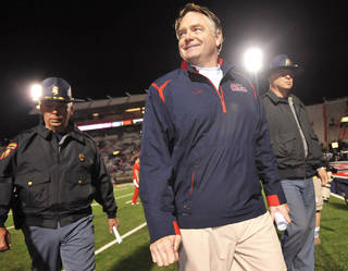After a contentious final year in Fayetteville, Houston Nutt has enjoyed success at Ole Miss. AP PHOTO