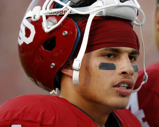 Oklahoma's Kenny Stills (4) waits for the start of the college football game between the University of Oklahoma Sooners (OU) and the University of Missouri Tigers (MU) at the Gaylord Family-Memorial Stadium on Saturday, Sept. 24, 2011, in Norman, Okla. Stills, recovering from a concussion suffered against Florida State, did not play vs. Missouri. Photo by Bryan Terry, The Oklahoman