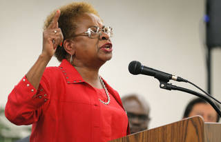 Marilyn Luper Hildreth speaks Thursday during a forum on State Question 759 at the Oklahoma City campus of Langston University. Photo by Sarah Phipps, The Oklahoman