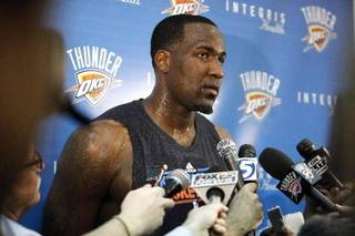 Oklahoma City's Kendrick Perkins talks to the media at the the Thunder practice facility, Saturday, Feb, 26, 2011, in Oklahoma City.Photo by Sarah Phipps