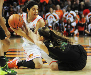 Oklahoma State's Brittney Martin (22) fights for a loose ball with Baylor's Makenzie Robertson (14) during an NCAA girl's college basketball game between Oklahoma State University (OSU) and Baylor at Gallagher-Iba Arena in Stillwater, Okla., Sunday, Jan. 26, 2014. Baylor defeated Oklahoma State in overtime 69-66. Photo by KT King, The Oklahoman