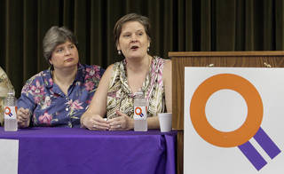 Unmarried partners Sharon Baldwin and Mary Bishop, both editors at the Tulsa World, speak June 26, 2013, during a panel discussion and rally celebrating the the Supreme Court's decisions on gay marriage at the Dennis R. Neill Equality Center in Tulsa, OK. The couple are plaintiffs in a lawsuit challenging the discriminations in state and federal law regarding LGBT partners. Photo by Michael Wyke,Tulsa World Michael Wyke - Tulsa World