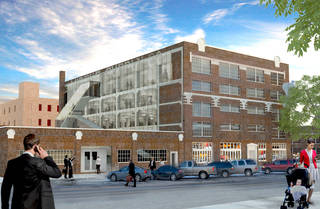 A $17 million makeover of the Mideke Building in Bricktown, including the creation of a new east facade, is shown in this conceptual drawing by Rogers Partners. Drawing provided