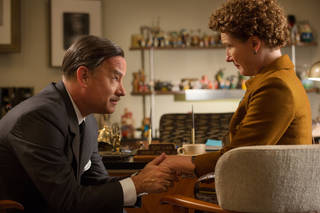 "This image released by Disney shows Tom Hanks as Walt Disney, left, and Emma Thompson as author P.L. Travers in a scene from ""Saving Mr. Banks."" (AP Photo/Disney, FranÁois Duhamel)"