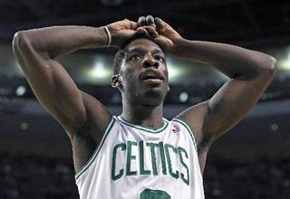 Boston Celtics forward Jeff Green reacts to a call during the second half against the New York Knicks in Game 2 of a first-round NBA basketball playoff series in Boston on Tuesday, April 19, 2011. (AP Photo/Elise Amendola)