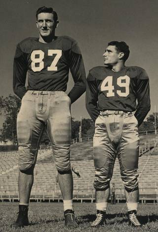 A WWII vet, Bob Ambler (left) went on the GI Bill to the University of Arkansas, where he lettered in football, basketball and track. He was 6 feet 8 inches tall and weighed 225 pounds. - PHOTO PROVIDED