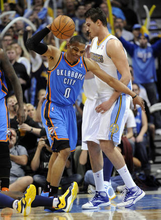 Oklahoma City Thunder guard Russell Westbrook (0) reacts during the second half in game 4 of a first-round NBA basketball playoff series against the Denver Nuggets Monday, April 25, 2011, in Denver. Denver beat Oklahoma 104-101. Oklahoma City leads the series 3-1. (AP Photo/Jack Dempsey)