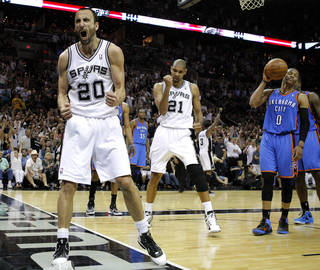 San Antonio's Manu Ginobili (20) and Tim Duncan react beside Oklahoma City's Russell Westbrook (0) during Game 1 of the Western Conference Finals between the Oklahoma City Thunder and the San Antonio Spurs in the NBA playoffs at the AT&T Center in San Antonio, Texas, Sunday, May 27, 2012. Photo by Bryan Terry, The Oklahoman