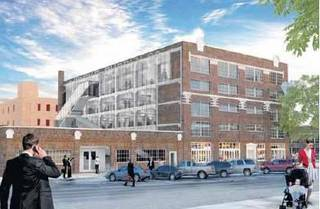 A $17 million makeover of the Mideke Building in Bricktown, including the creation of a new east facade, is shown in this conceptual rendering presented Wednesday by Rogers Partners. DRAWING PROVIDED