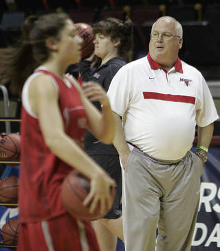 Marist head coach Brian Giorgis, right, watches his team during basketball practice in Tallahassee, Fla., Saturday, March 17, 2012. Marist plays Georgia in an NCAA tournament first-round women's college basketball game on Sunday. (AP Photo/Steve Cannon)