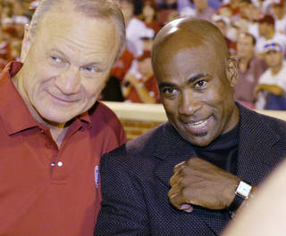 "Happy Birthday wish from Joe Washington, former OU running back 1972-1975: ""(Happy Birthday to) a man that inspired respect and understood the importance of allowing each of us to maintain our individuality. No Barry Switzer, no Little Joe and no silver shoes."" 2005: Switzer and Little Joe In this photo from the 2005 OU-K-State game, Switzer and Joe Washington chat and watch the action. PHOTO BY STEVE SISNEY, The Oklahoman"