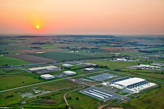 A sunset highlights this aerial view of Google's data center in Pryor.