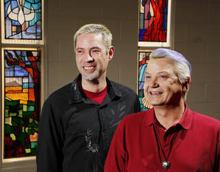 Standing in the sanctuary of Church of the Open Arms, Kenny Wright and Bo Bass are an Oklahoma City gay couple who say they will get married in Oklahoma if the state's same-sex marriage ban is overturned. Photo by Jim Beckel, The Oklahoman Jim Beckel -