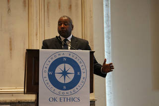 "Mike Paul, ""The Reputation Doctor,"" speaks at Wednesday's OK Ethics luncheon. PHOTO PROVIDED"