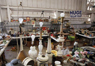 Vintage items are displayed in a booth at Col. Dick's Flea Market.