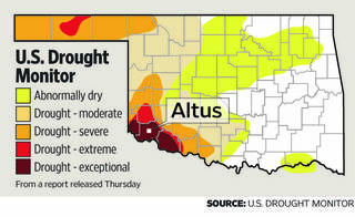 This image shows the parts of Oklahoma at highest risk of drought, according to the U.S. Drought Monitor.
