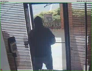 An image from a security camera inside The Republic Bank & Trust shows the man who robbed the bank Thursday morning.