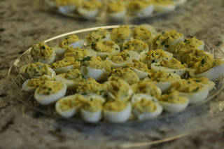 These sweet and spicy deviled eggs include serrano chiles, shallots and relish in the fliling. THE OKLAHOMAN - DAVID MORRIS