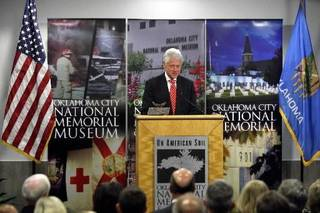 Former President Bill Clinton speaks to a crowd at the Oklahoma City National Memorial & Museum, Saturday, May 2, 2009, in Oklahoma City. Photo by Sarah Phipps