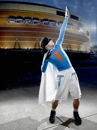 """Thunder super fan """" Thunder Man"""" poses for a portrait outside the Ford Center in Oklahoma City, Thursday, Feb. 12, 2009. By Bryan Terry"""