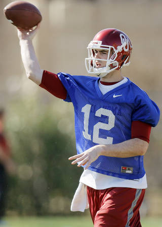 COLLEGE FOOTBALL: Landry Jones (12) passes during spring football practice for the OU Sooners on the campus of the University of Oklahoma in Norman, Okla., Monday, March 5, 2012. Photo by Nate Billings, The Oklahoman
