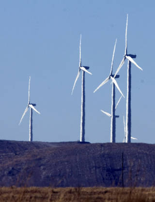 Wind turbines near near Elgin, Okla., are shown in this file photo from 2009. STEVE SISNEY - THE OKLAHOMAN ARCHIVES