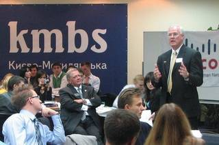 Brad Yarbrough speaks to MBA students at a university in Ukraine during at trip with the group Global Leadership, Inc. Photo provided