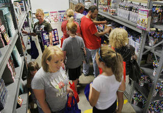Oklahoma City metro-area teachers pick out school supplies Thursday as Feed the Children opens its new Teachers Store at its headquarters in Oklahoma City. Photo by Paul Hellstern, The Oklahoman PAUL HELLSTERN