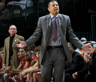 OU coach Jeff Capel reacts during the All-College Classic basketball game between the University of Oklahoma and Cincinnati at the Oklahoma City Arena on Saturday, December 18, 2010. Photo by Bryan Terry, The Oklahoman
