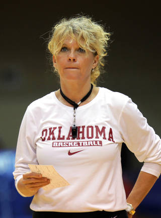 Oklahoma head women's basketball coach Sherri Coale watches her team practice before the NCAA basketball tournament in Durham, N.C., Friday, March 21, 2014. Oklahoma faces DePaul in the first round on Saturday. (AP Photo/Ted Richardson)