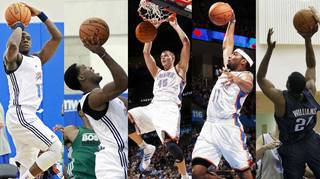 Thunder players who saw action in the Orlando Pro Summer League included, from left: Reggie Jackson, Perry Jones III, Cole Aldrich, Lazar Hayward and Latavious Williams. PHOTO FROM ASSOCIATED PRESS AND THE OKLAHOMAN
