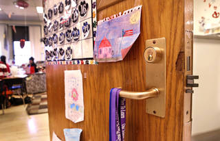 A recently installed lock is seen on a classroom door at Linwood Elementary School. District officials say they are working to fix missing or broken locks as quickly as possible. Photo by Jim Beckel, The Oklahoman