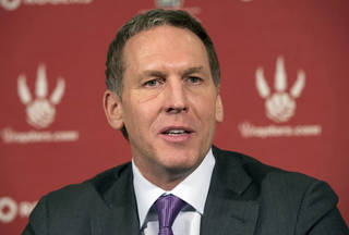 Toronto Raptors general manager Bryan Colangelo speaks at a season ending news conference in Toronto on Monday April 22, 2013. (AP Photo/The Canadian Press, Frank Gunn) ORG XMIT: FNG103