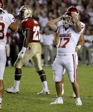 Oklahoma's Jimmy Stevens (17) reacts after making a field goal in the fourth quarter of a college football game between the University of Oklahoma (OU) and Florida State (FSU) at Doak Campbell Stadium in Tallahassee, Fla., Saturday, Sept. 17, 2011. Photo by Bryan Terry, The Oklahoman.