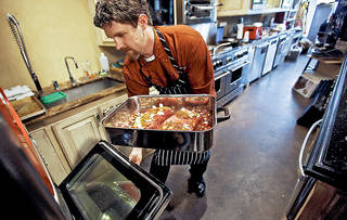 Chef Robert Black prepares short rib sloppy joes at Culinary Kitchen on Wednesday, April 4, 2012, in Oklahoma City, Oklahoma. Photo by Chris Landsberger, The Oklahoman
