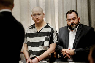 Preliminary hearing for Jimmy Lee Massey Jr., left, who is accused of trafficking meth. Massey also is charged with first-degree murder in dismemberment death of Carina Saunders. In Judge Doak's courtroom in the Oklahoma County Courthouse on Wednesday. Photo by Jim Beckel, The Oklahoman Jim Beckel